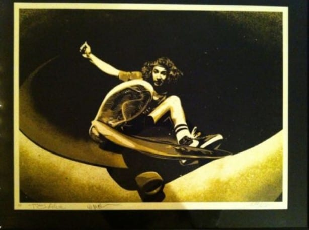 Autographed Shepard Fairey Print of a Tony Alva Photo by Wynn Miller