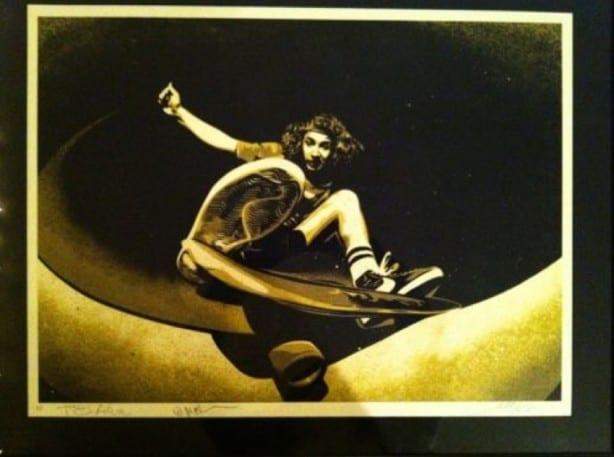 Autographed Shepard Fairey Print of a Tony Alva Photo by Wynn Miller