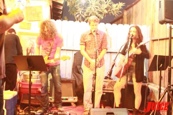 Scott Stanton performing with Rain Phoenix and co. Photo: Dan Levy