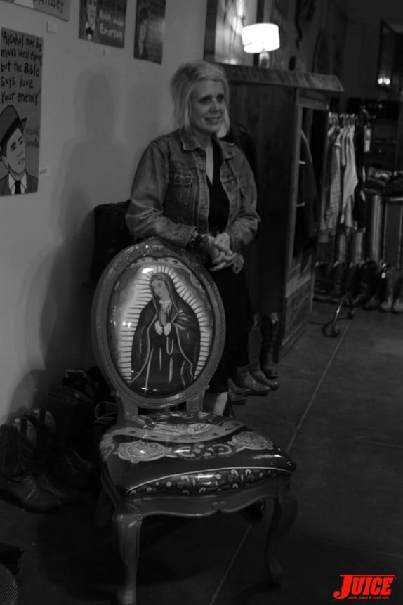 Libby Knudsen and one of her Guadalupe Chairs. Photo: Dan Levy