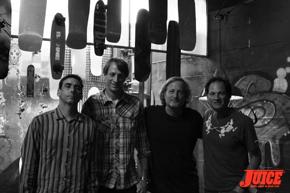 Lance Mountain, Tony Hawk, Stacy Peralta and Mike McGill. Photo: Dan Levy