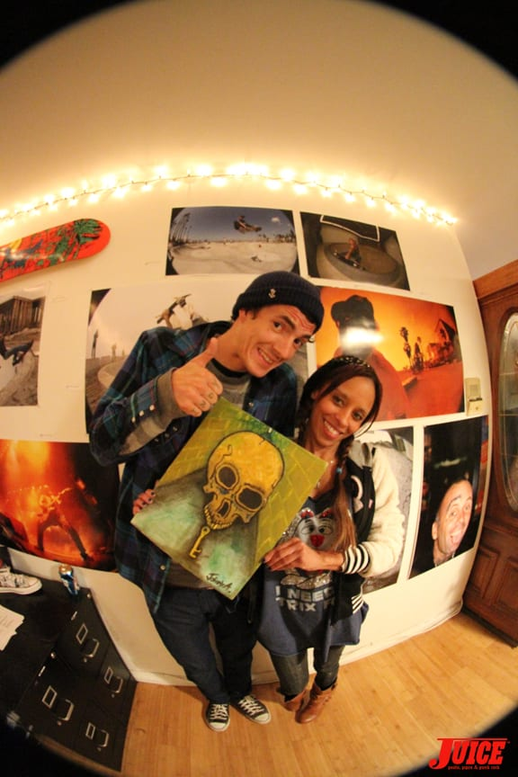 Punker Johnny sold his first piece of art ever to Andrea Hulihan.