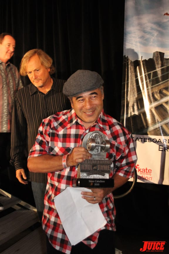 Steve is stoked on his award as Stacy Peralta and Steve Van Doren always have his back.