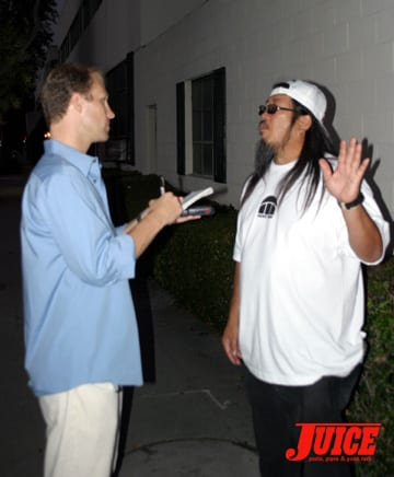 Jeff getting interviewed. Photo: Dan Levy