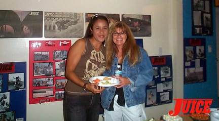 Angie from Rocker Surf Shop and Janet Dahlin. Photo: Dan Levy