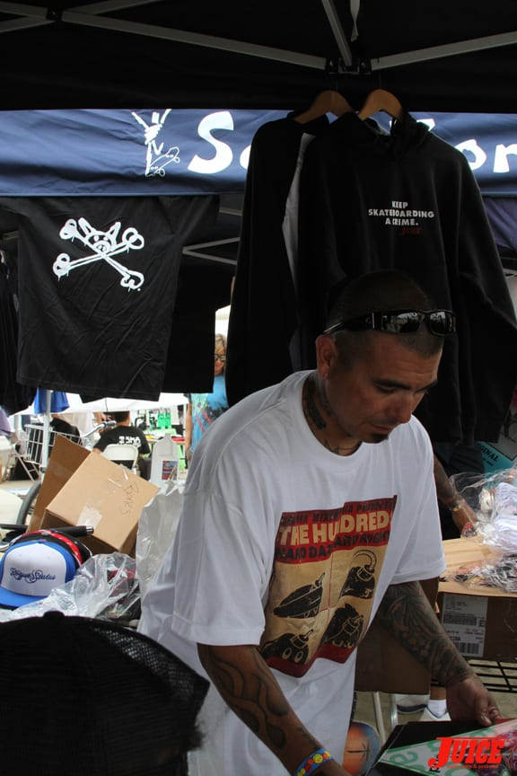 Pat from Brooklyn Projects helping out with the prize wheel. PHOTO: DAN LEVY