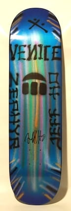 JEFF HO ZEPHYR PRODUCTIONS HAND-PAINTED SKATEBOARD - BLUE