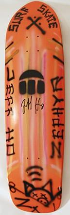 JEFF HO ZEPHYR PRODUCTIONS HAND-PAINTED SKATEBOARD - ORANGE - SURF SKATE