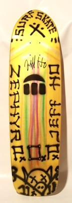 JEFF HO ZEPHYR PRODUCTIONS HAND-PAINTED SKATEBOARD - YELLOW