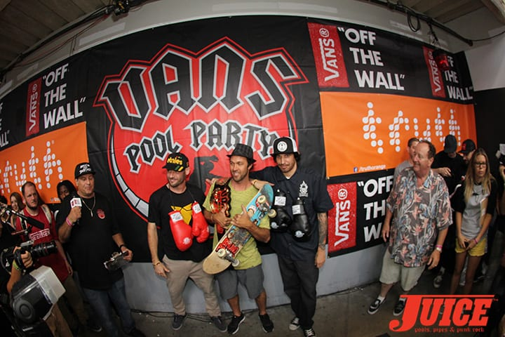 BRIAN PATCH, BRUNO PASSOS, DARREN NAVARRETTE. VANS POOL PARTY 2014. PHOTO BY DAN LEVY
