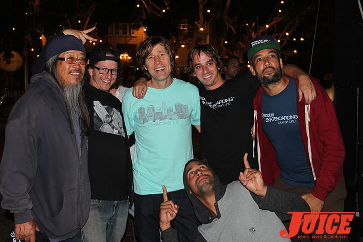 Jeff Ho, Dan Levy, Rodney Mullen, Ben Harper and ZJ's Boarding House crew. Gracias Skateboarding. Photo by Dan Levy.