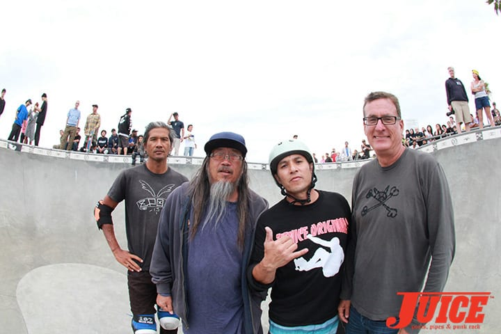 PAT NGOHO, JEFF HO, CHRISTIAN HOSOI AND NATHAN PRATT. SHOGO KUBO MEMORIAL SKATE SESSION VENICE. PHOTO BY DAN LEVY