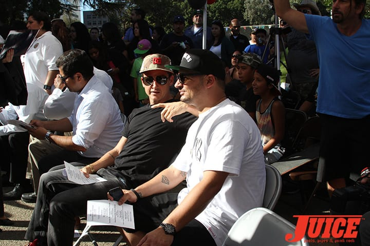 Dyrdek and Nick Diamond at Diamond Skate Plaza Opening Day 2014. Photo by Dan Levy.
