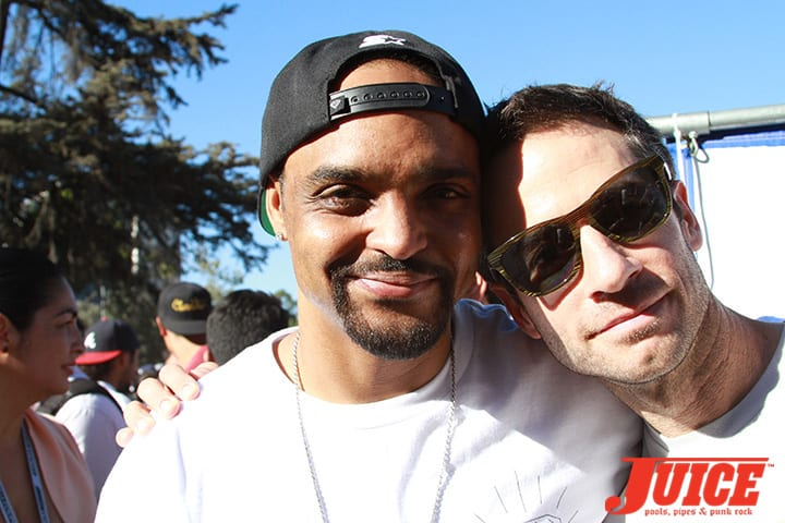 Jeron Wilson and Mike Carroll. Diamond Skate Plaza Opening Day 2014. Photo by Dan Levy.
