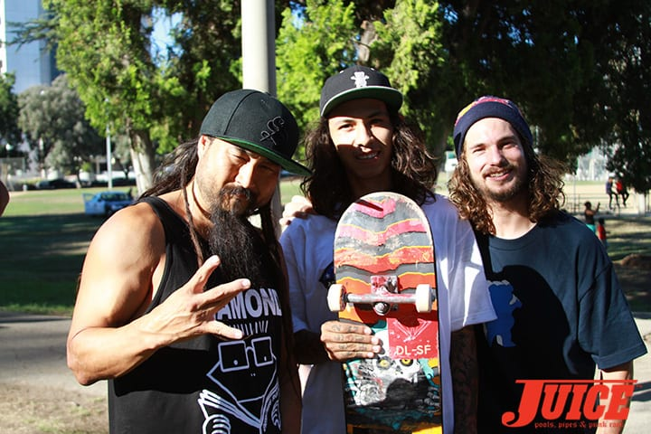 "Bennett Harada, Eddie ""Mighty"" Moreno, Torey Pudwill. Diamond Skate Plaza Opening Day 2014. Photo by Dan Levy."