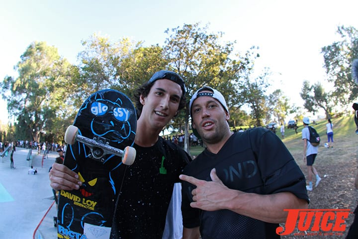 David Loy and Brandon Biebel. Diamond Skate Plaza Opening Day 2014. Photo by Dan Levy.