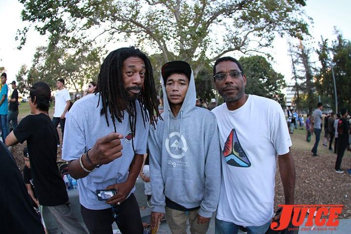 Jahmel, Matt Lemond and Lance Lemond. Diamond Skate Plaza Opening Day 2014. Photo by Dan Levy.