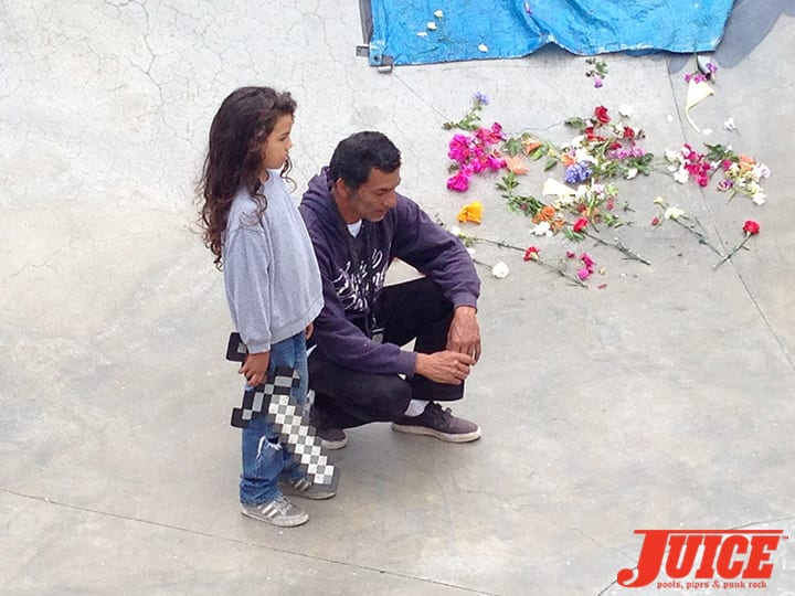 JESSE MARTINEZ AND HIS SON CHRISTIAN. SHOGO KUBO MEMORIAL SKATE SESSION VENICE. PHOTO BY TERRI CRAFT