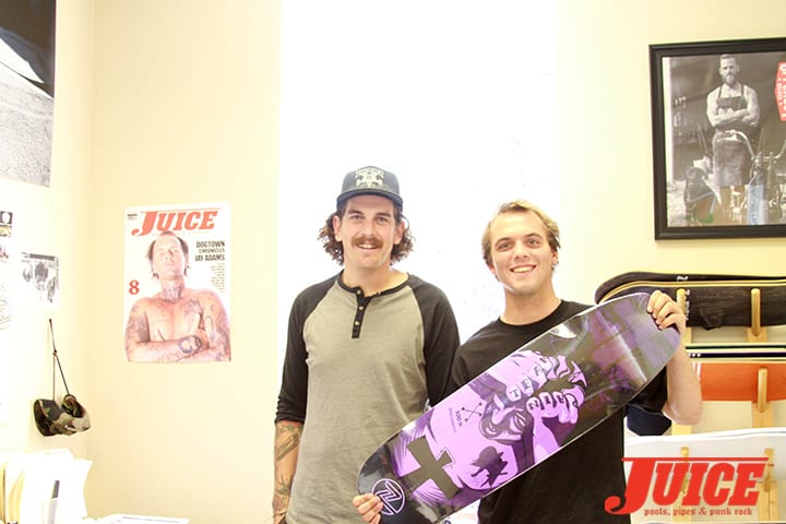 Brad Hooker of Z-Flex gives Seven Adams one of the new Master Crafted Z-Flex skateboards that Jay Adams had designed