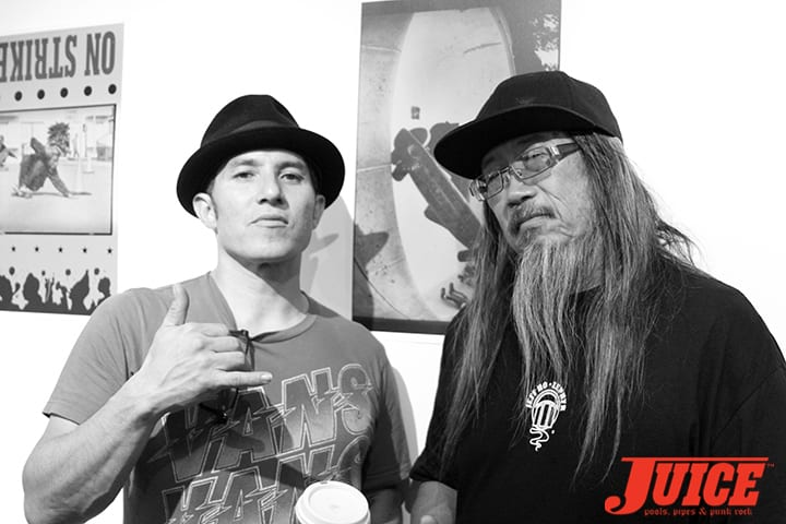 Christian Hosoi and Jeff Ho pay their respects to Jay Adams. Photo by Dan Levy