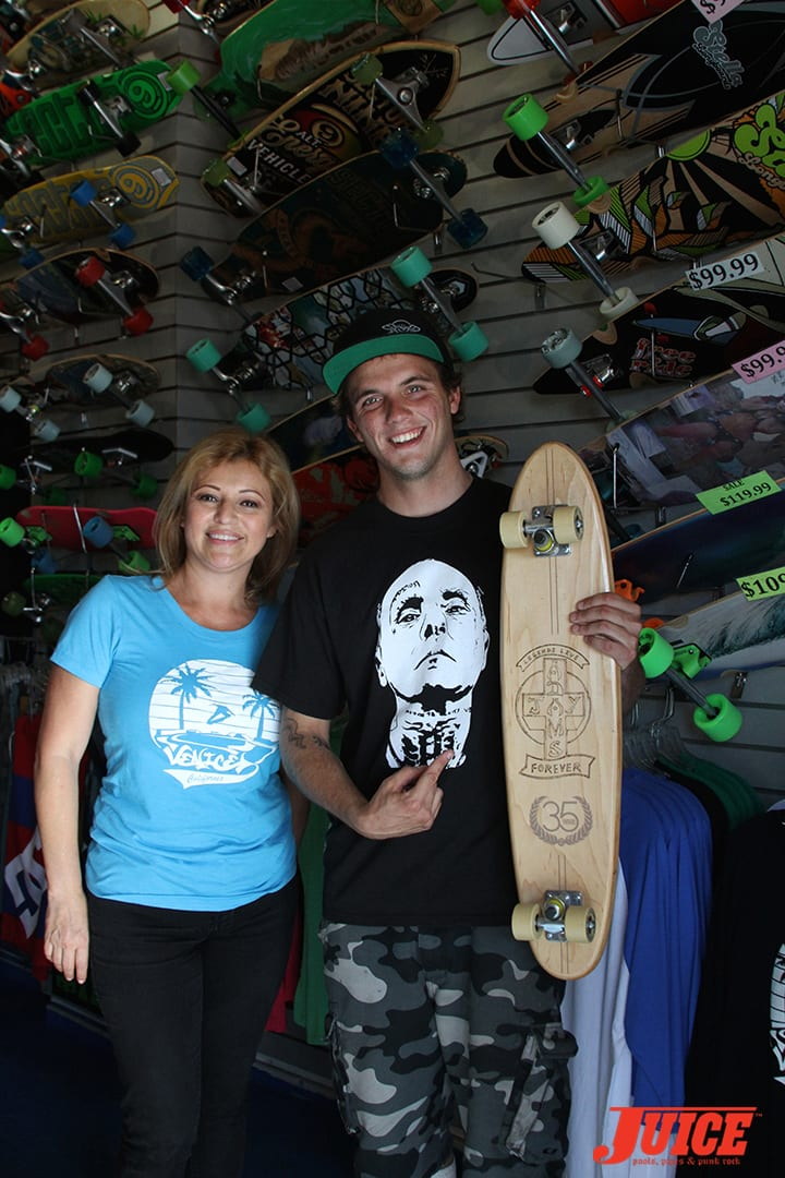 Morena Medina at Venice Skateboarding Stuff shows Seven the tribute deck that Miguel Peralta hand-routed in honor of Jay Adams