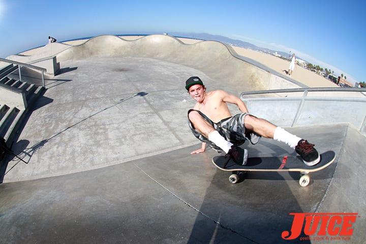 Seven Adams powerslide at Venice Skatepark Photo by Dan Levy