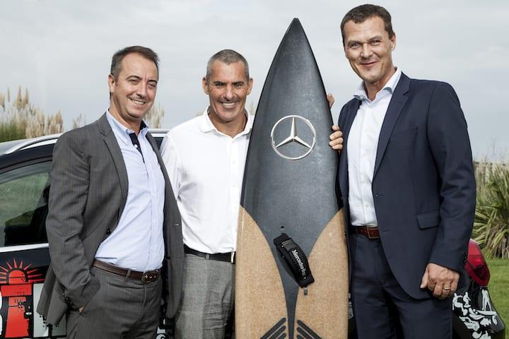 Joerg Heinermann (Mercedes-Benz Portugal CEO), Garrett McNamara and Alberto Batista (Commercial Manager of Amorim Cork Composites)