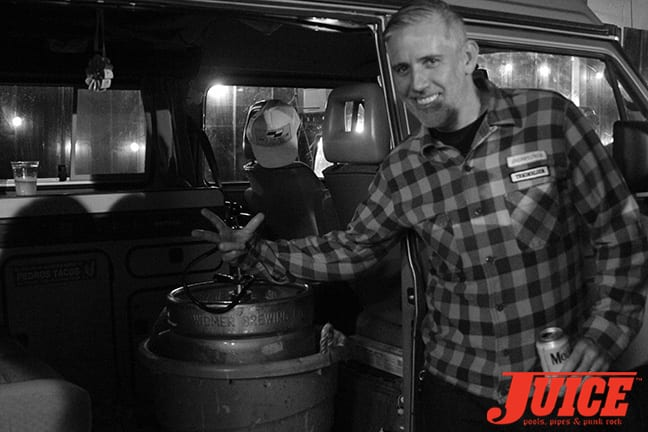 Jean Pierre Pereat, keeper of the keg at Jeff Ho show. Photo by Dan Levy