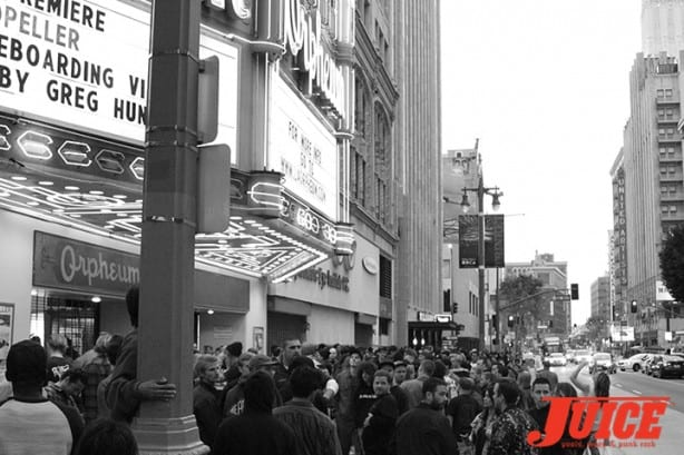 The line to get in was over four blocks long. Photo by Dan Levy
