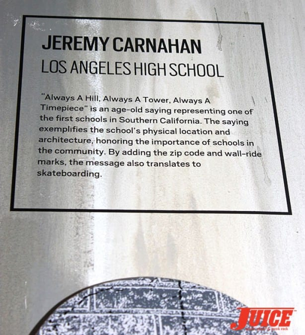 Jeremy Carnahan tribute to Los Angeles High School. Photo by Vans Davey