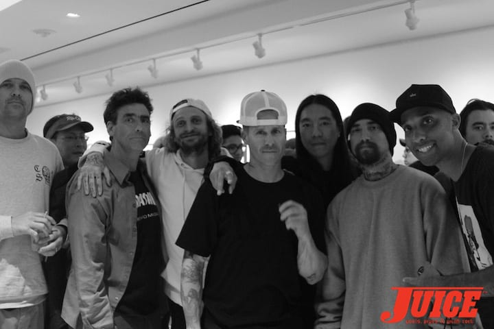 (L to R )Alex Horn, Lance Mountain, Lizard King, Jason Jessee, Nuge, Sammy Baca, Atiba Jefferson.