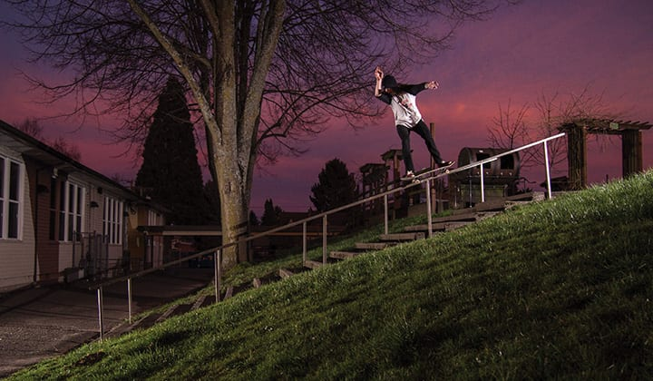 SKYLINE SCREAMS SABBATH, RAIL SCREAMS DUFFY, TREY SCREAMS THROUGH A FRONTSIDE 50-50. PHOTO BY ETHAN WALSH