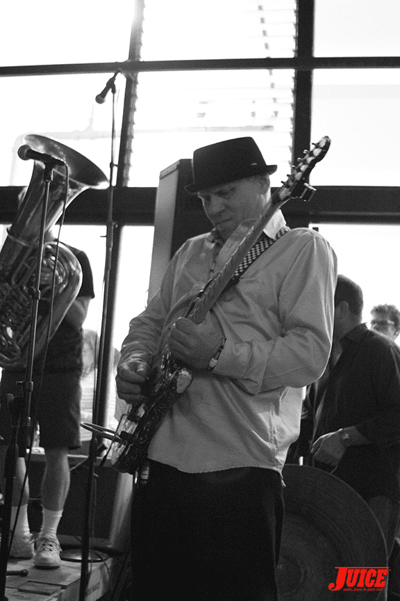 Dave Tourje with the Los Savages. Photo by Dan Levy