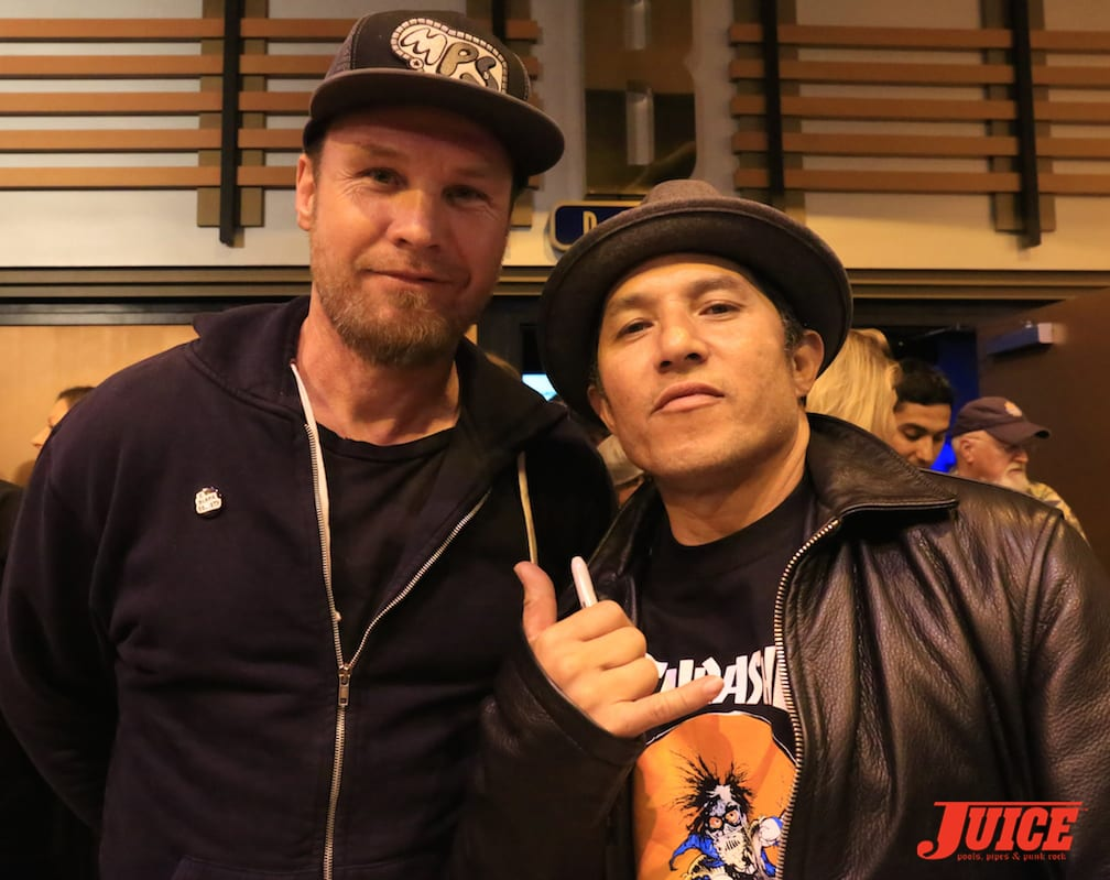 Jeff Ament (Pearl Jam bassist & skateboarder) and Christian Hosoi. Photo by Dan Levy © Juice Magazine