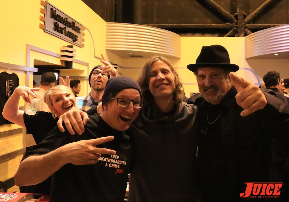 Dan Levy, Rodney Mullen and Dave Duncan with photo bomb by Hailey Villa. Photo by Shark Dog