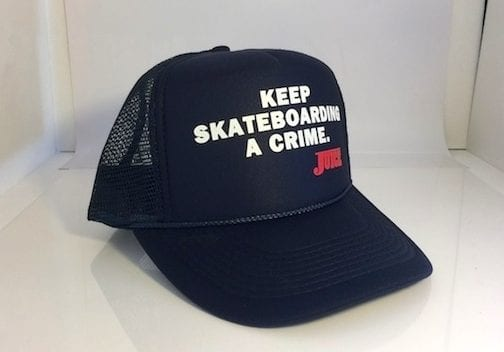 Keep Skateboarding A Crime Hat Navy Blue