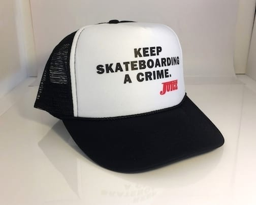 Keep Skateboarding A Crime Hat White