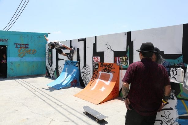Jak's EZ rides while Hosoi and Ho catch up. Photo by Dan Levy © Juice Magazine