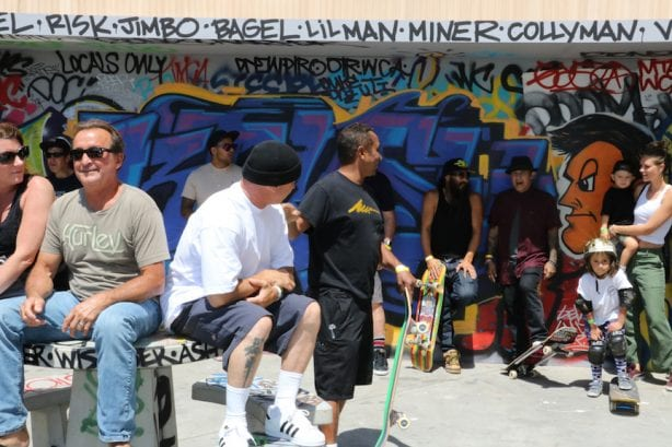 Billy Yeron, Aaron Murray, Marty Grimes, Bennett Harada, Christian Hosoi, Stuntman Jake. Photo by Kelly Jackson