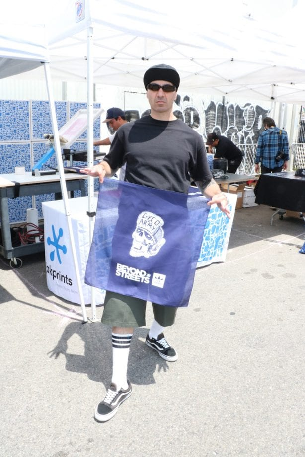 SharkDog with the Cyco Army Beyond The Streets Adidas event bandanas. Photo by Kelly Jackson