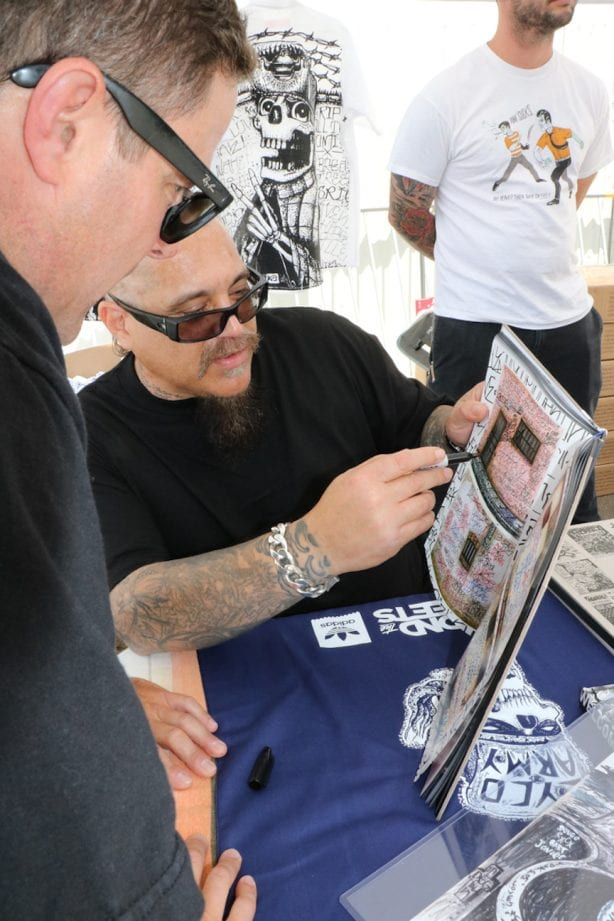 """Ric Clayton and Bagel talk about Ric's new book """"Welcome To Venice"""". Photo by Kelly Jackson"""