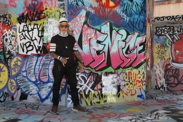 "Ivan ""Pops"" Hosoi gives the art a solid shaka. Photo by Kelly Jackson"