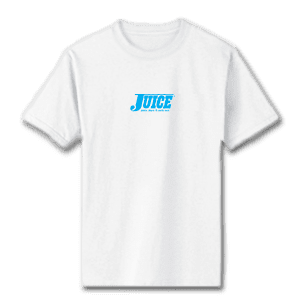 Juice Pools Pipes and Punk Rock Blue Mini Logo White Short Sleeve Tshirt