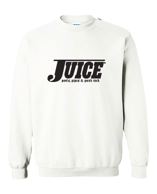 Juice Pools Pipes and Punk Rock Crewneck White Hesh