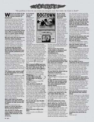 DOGTOWN CHRONICLES: CRAIG STECYK III