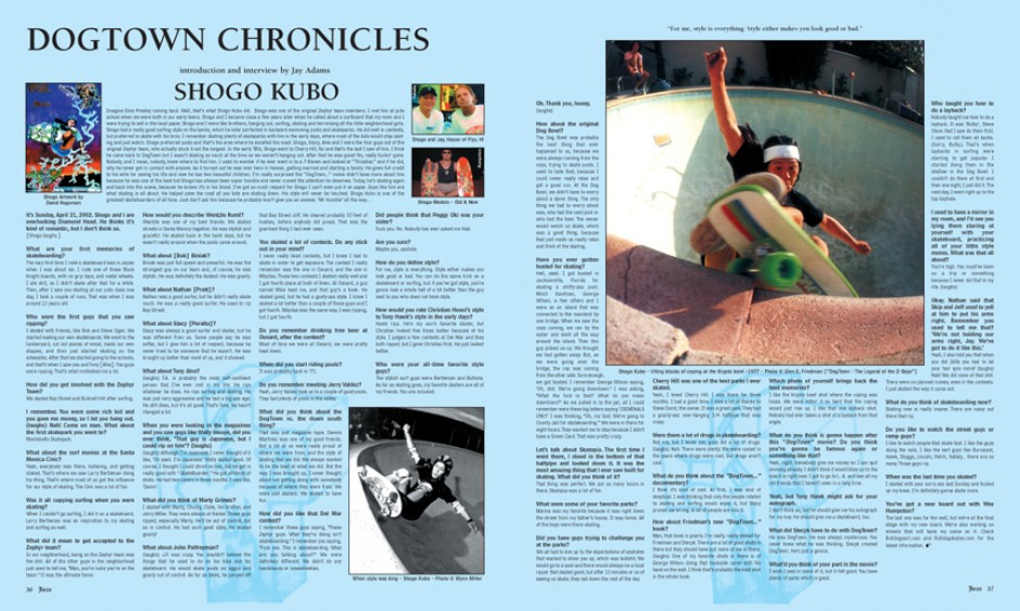 DOGTOWN CHRONICLES: SHOGO KUBO photo by Glen E. Friedman