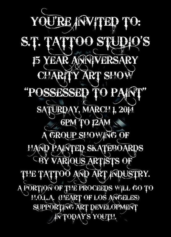 S.T. Tattoo Studios 15 Year Anniversary Charity Art Show