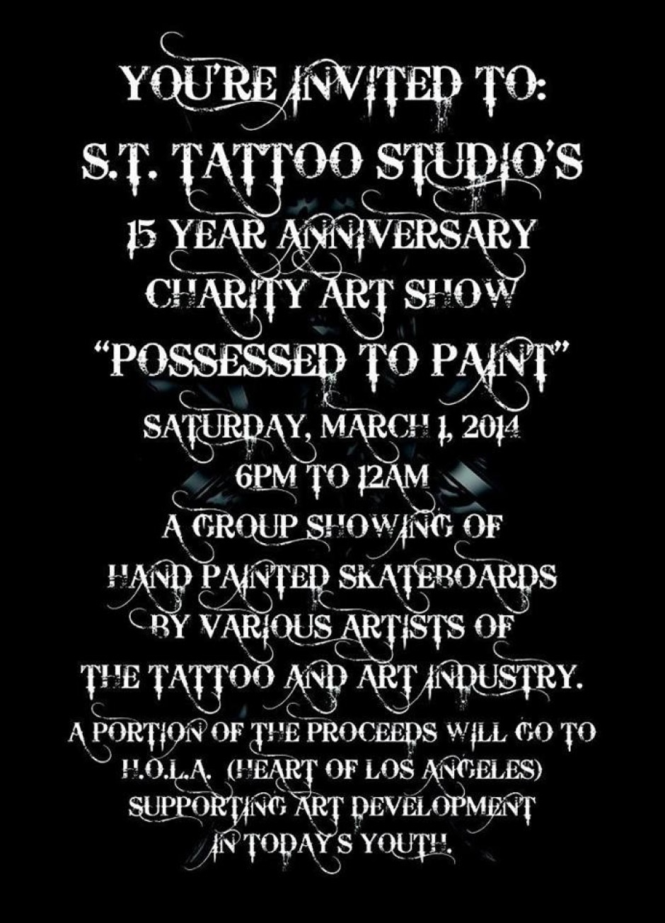 S.T. Tattoo Studios 15 Year Anniversary Charity Art Show
