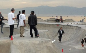 Venice deathrace course setup: Jesse Martinez, Christian Hosoi, Steve Olson. Photo: Terri Craft