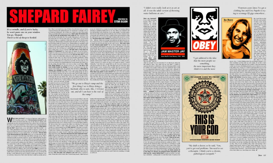 SHEPARD FAIREY photo by Terri Craft. Artwork by Shepard Fairey.